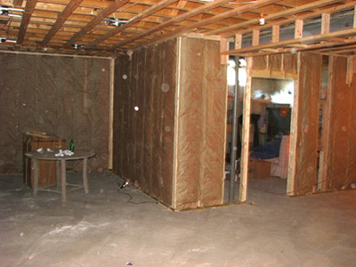 Framing begins -- storage area.